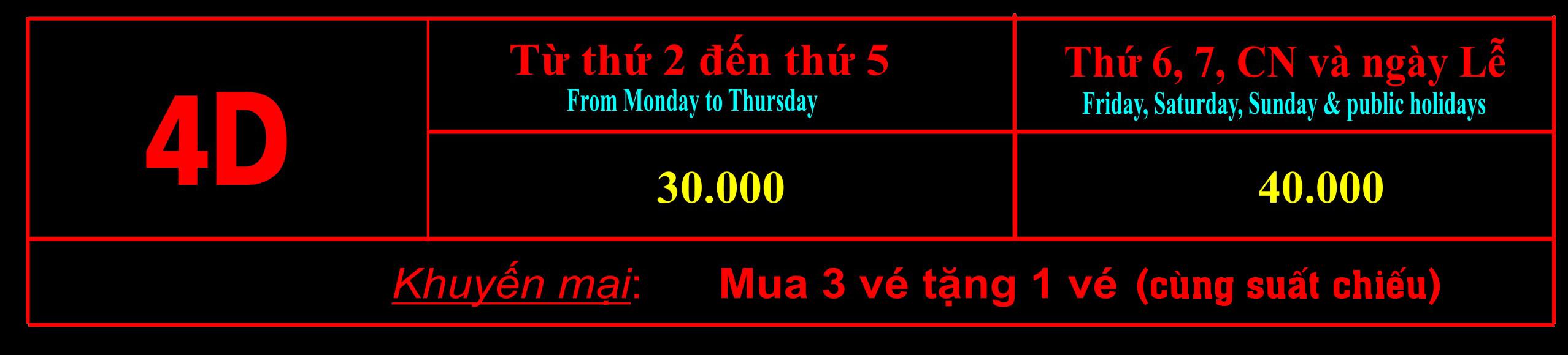 Giá vé xem phim 4D